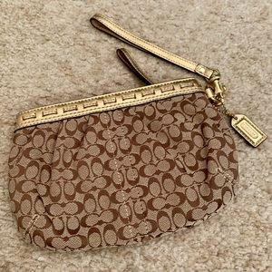 EUC Coach Metallic Gold & Brown Monogram Clutch